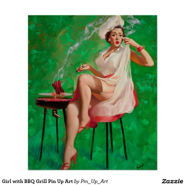 Girl with BBQ Grill Pin Up Art Poster