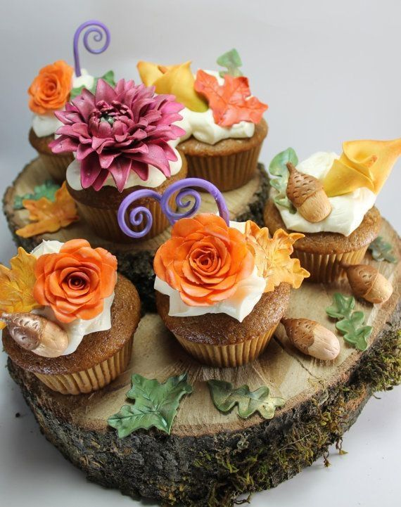 Fall cupcakes: Autumn Flowers, Fall Leaves, Flower Cupcake, Cakes Plates, Beautiful Cupcake, Acorn Sets, Autumn Cupcake, Cakes Design, Fall Flower
