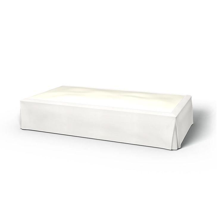 Cache sommier, Cache sommiers, 160x200 cm, Hauteur 50 cm, Plis creux sur les coins utiliser le tissu Panama Cotton Absolute White