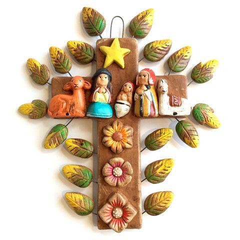 Zee Bee Market LLC - Handpainted Ceramic Cross with Nativity Scene