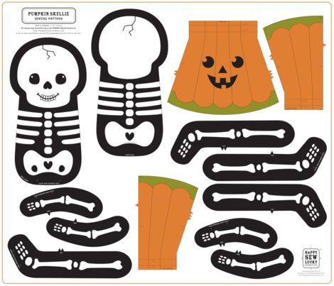Pumpkin Skellie (Click to see sewn sample) fabric by happysewlucky on Spoonflower - custom fabric