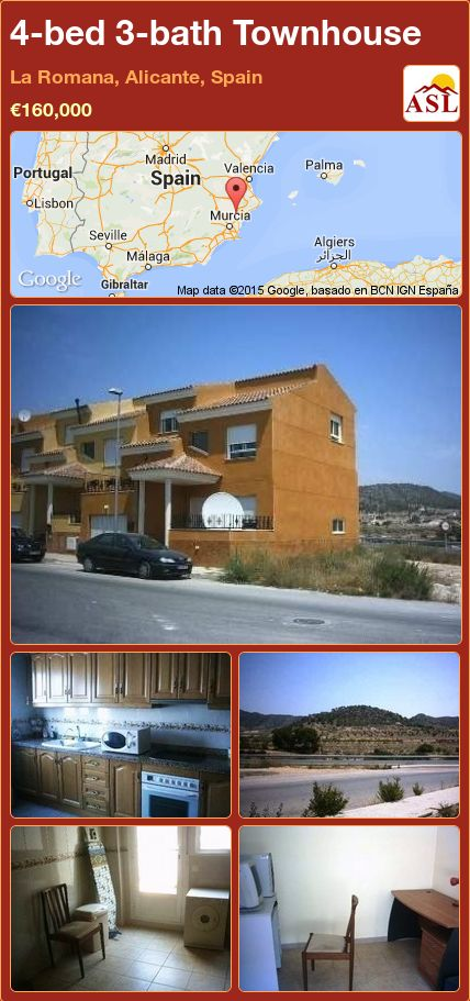 4-bed 3-bath Townhouse in La Romana, Alicante, Spain ►€160,000 #PropertyForSaleInSpain