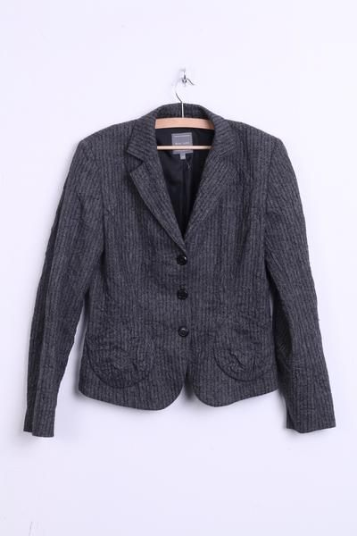 MARC AUREL Womens 38 M Jacket Blazer Striped Grey Wool - RetrospectClothes