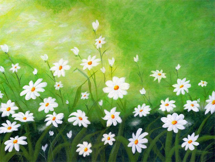 Gocce di primavera, acrilico su cartone telato