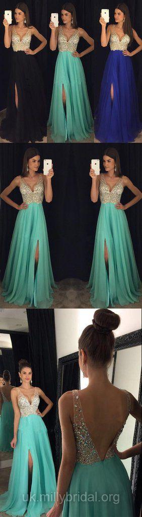 Long Prom Dresses 2018, Lace Party Dresses Backless, A-line Formal Dresses V-neck, Tulle Evening Dresses Modest
