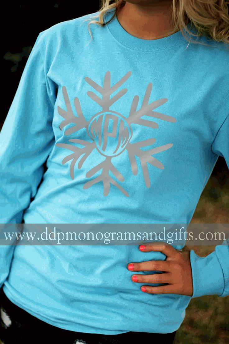 PERSONALIZED FULL FRONT INITIAL SNOWFLAKE LONG SLEEVE SHIRT