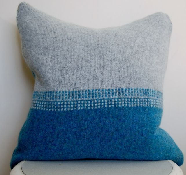 """Teal and Grey Lambswool Cushion Cover, Without Cushion Cover 40 x 40cm (16x16"""")"""