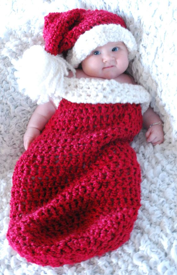 Christmas Baby Cocoon Crochet Pattern : Crochet Christmas Cocoon and Santa Hat Crochet by ...