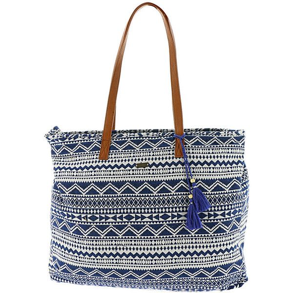 Roxy Single Water A Tote Bag Blue Bags No Size ($48) ❤ liked on Polyvore featuring bags, handbags, tote bags, blue, blue totes, blue tote bag, white handbags, aztec tote and aztec tote bag