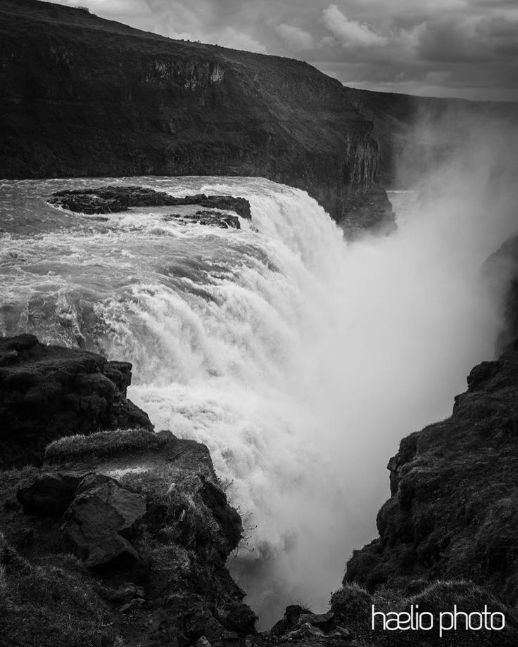 The epic Gullfoss Waterfall. Iceland if I wasn't getting soaked from the rain I was getting soaked from waterfall spray.  #blackandwhite #europe #iceland #ic_water #ig_iceland #igersiceland #icelandtravel #liveauthentic #moodygrams #chasinglight #agameoftones #discovericeland #finditliveit #gullfoss #hvítáriver #getolympus #goldencircle #olympusomd #olympusinspired