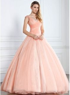 A-Line/Princess V-neck Floor-Length Satin  Tulle Quinceanera Dresses With Ruffle  Beading (021002897)