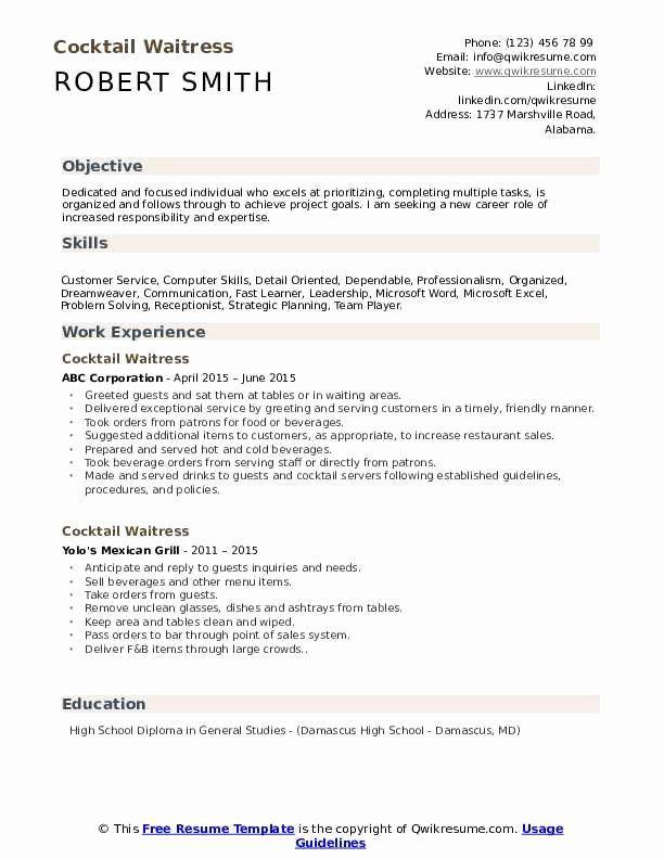 waitress job description resume luxury cocktail waitress