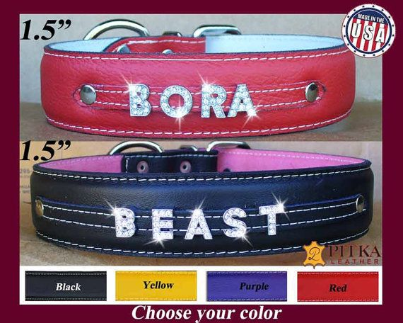 Bling Dog Collars - Extra Large Dog Collars with Name in Rhinestone Letters…