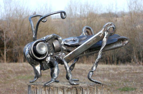 Grasshopper Metal Sculpture Insect Garden Art Yard Art Found Objects