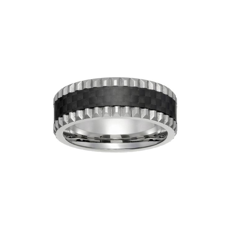 Lynx Men's Grooved Stainless Steel & Carbon Fiber Ring, Size: 10, Grey