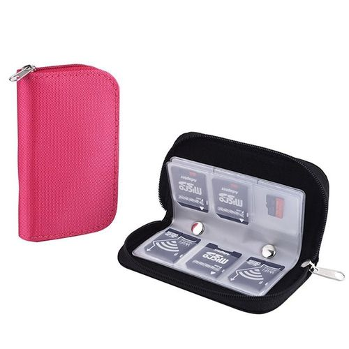 2 Pack Memory Card Case Pouch Zippered Storage Bag 22 Slots Holder for SD SDHC MMC CF Micro SD Cards - $8.68