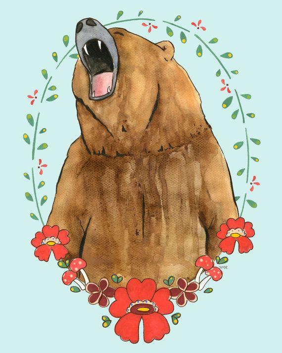 Roaring Bear Illustration
