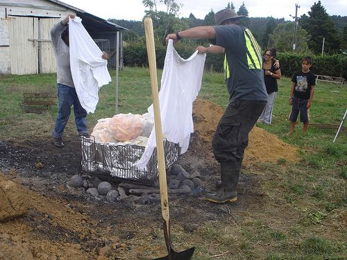 http://hangiguide.co.nz/ Hangi is a old-fashioned Maori technique of preparing food by steaming it below ground. The flavor is one of a kind and still used in the present day. Hangi Camp 2008