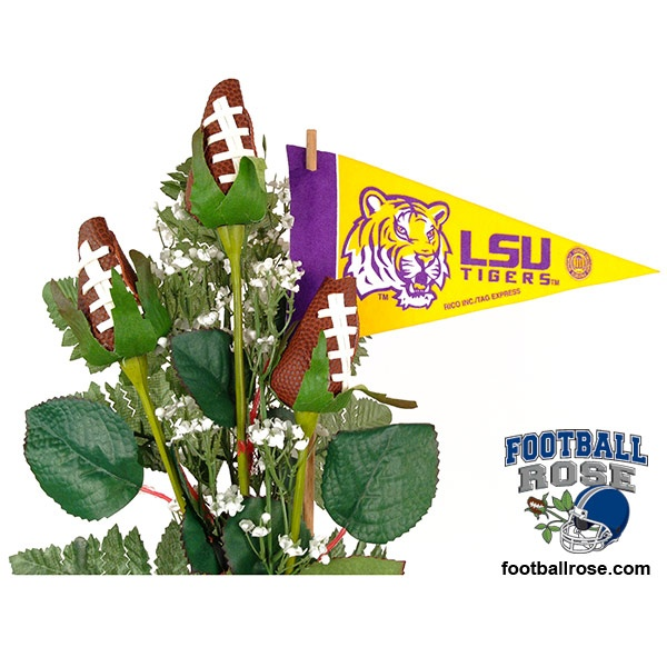 GEAUX TIGERS! Score a touch down in the heart of an LSU Tigers fan with Football Roses and officially licensed NCAA SEC accessories.  $64.95