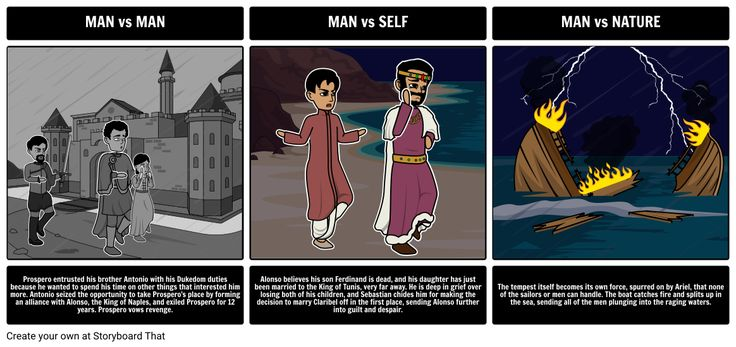 The Tempest - Literary Conflict: Having students create storyboards that show the cause and effect of different types of conflicts strengthens analytical thinking about literary concepts. Have your students choose an example of each literary conflict and depict them using the storyboard creator. In the storyboard, an example of each conflict should be visually represented, along with an explanation of the scene, and how it fits the particular category of conflict.
