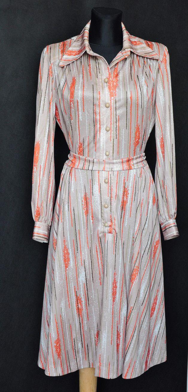 Beżowo pomarańczowa sukienka lata 70te vintage - MissVintage_pl - Sukienki mini