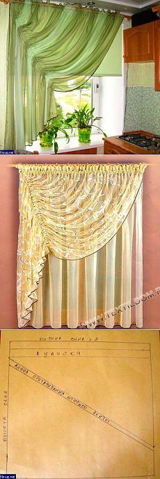 Cortinas en la cocina un pedazo de tela alrededor del perímetro de la tubería tratada, cosen la salida franja de 5 cm arriba de tela (kuliske), las cortinas puestas cornisa tubo recto.  y la línea (ver. diagrama) coser cinta de la cortina.  Storck los puso en la cornisa, colgó y ya en su lugar a regular el montaje de cinta de la cortina.