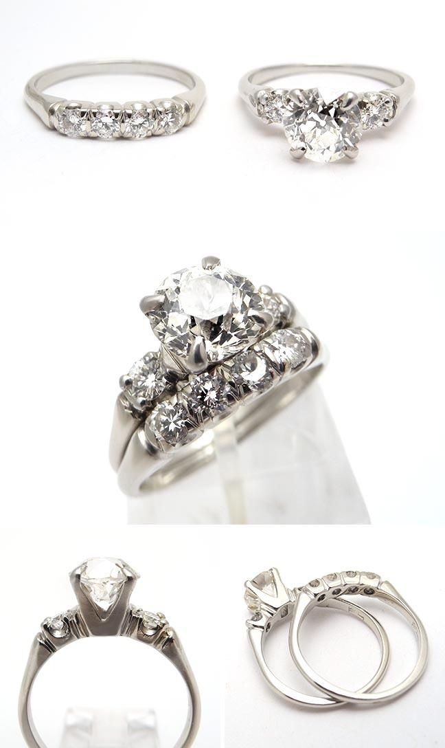 Vintage Wedding Rings Old | Green Eco Friendly Vintage Engagement Ring Bridal Set Old Euro Diamond ...