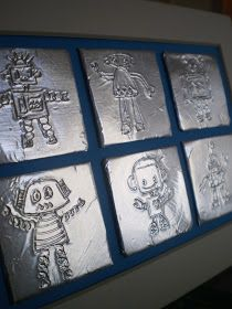 Cool art or headboard for his robot room.  Maybe could make with aluminum tiles and nail punches or embossing foil.