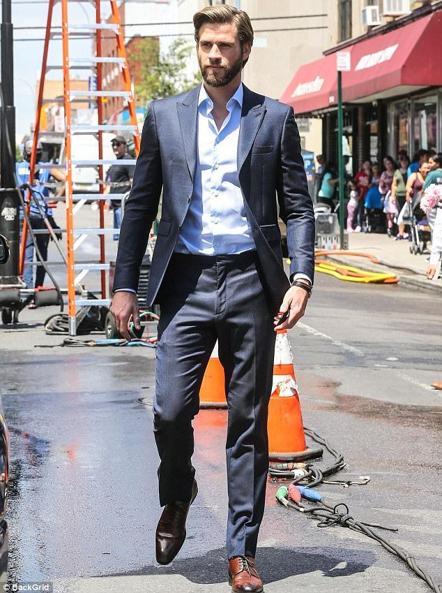 Street scene: Liam Hemsworth was spotted filming his new romantic comedy with Rebel Wilson on Wednesday in New York City