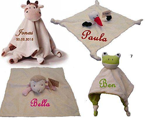Baby Kuscheltuch mit Namen bestickt Bär Storch Schaf Schmusetuch  http://www.geschenkewebshop.info/produkt/baby-kuscheltuch-mit-namen-bestickt-baer-storch-schaf-schmusetuch/