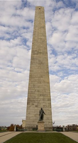 The Bunker Hill Monument marks the end of the 5 mile walk on Boston's Freedom Trail.
