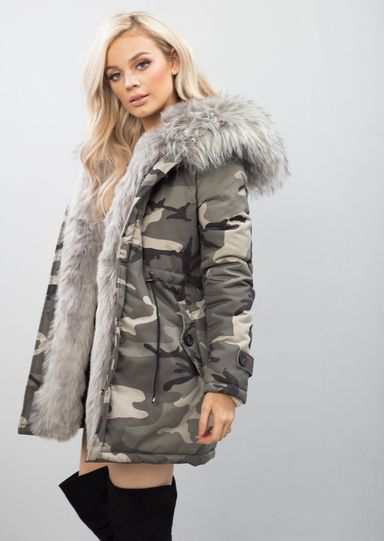 f6252f979ba9 Grey Faux Fur Hooded Padded Parka Camo Khaki Coat Khaki Green