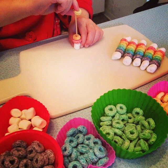 Making a yummy rainbow snack to bring to preschool tomorrow!