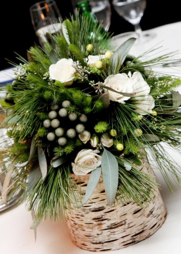 Great birch bark container for floral arrangement!