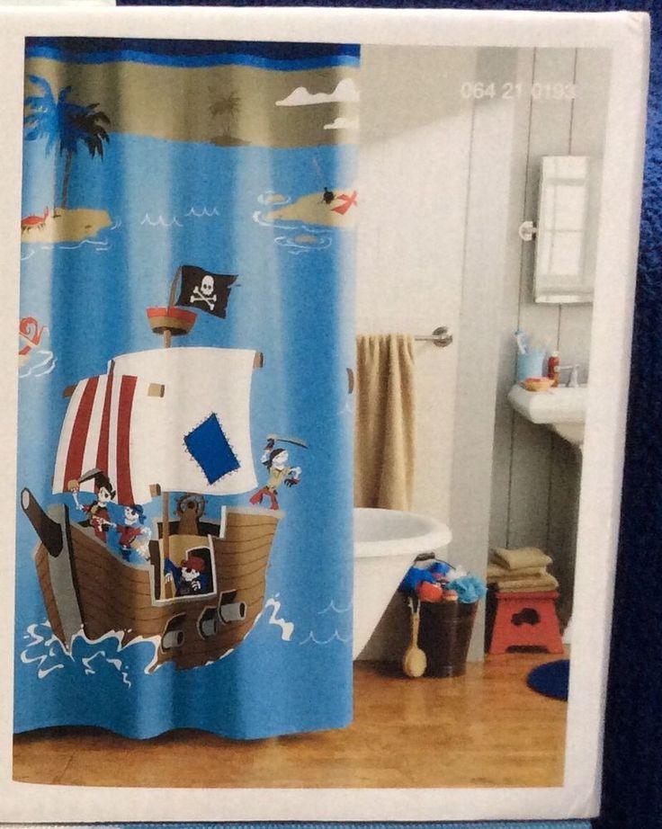 circo pirate ship bathroom decor blue fabric shower