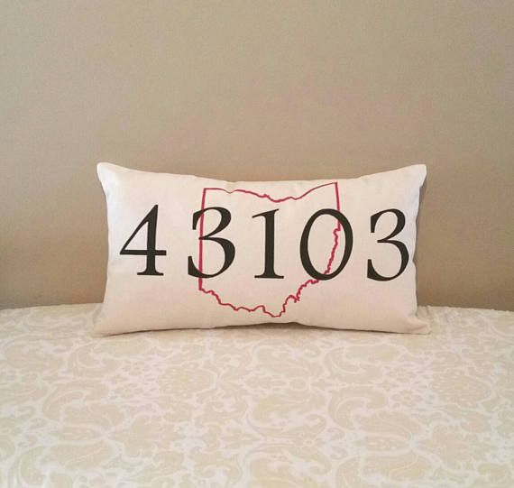 Zip Code pillow | Home State outline | Graduation Gift | New Home Gift | Retirement Gifts | Moving Away Gift | Living Room Decor | Rec room