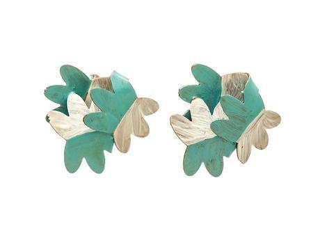 Floral earrings by Peta Kruger  (Sterling silver, brass, paint)
