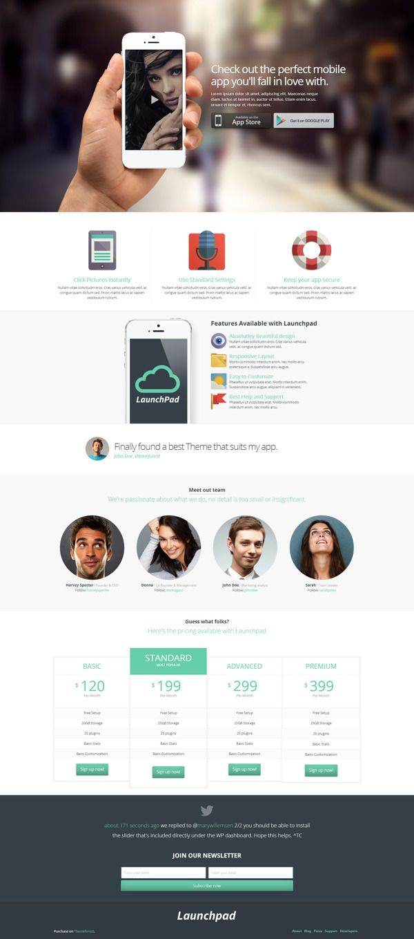 Launchpad - Responsive App Landing Page by Zizaza - design ocean , via Behance