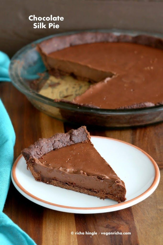 The Best Vegan Chocolate Silk Pie is filled with smooth Dark chocolate filling, & a Almond Chocolate Crust. topped with cashew cream. Gluten-free Soy-free