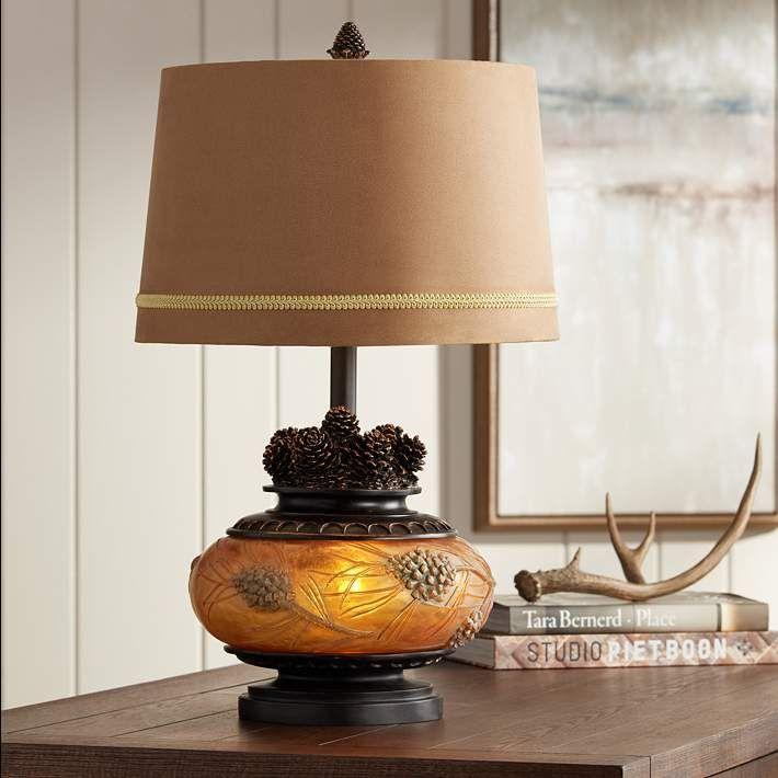 Pine Peak Amber Orb Etruscan Gold Pinecone Table Lamp 18x71 Lamps Plus Table Lamp Rustic Table Lamps Lamp