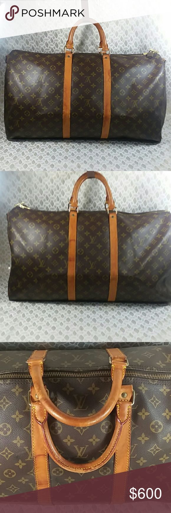 Authentic Louis Vuitton Monogram Keep All Bag. Straps and leather trim showed signs of used and had some stains as the bag was preowned. The bag was made in France with a date code SP 0994. Canvas and inside linen are good. The dimension is 22, 10 and 12. Louis Vuitton Bags Travel Bags