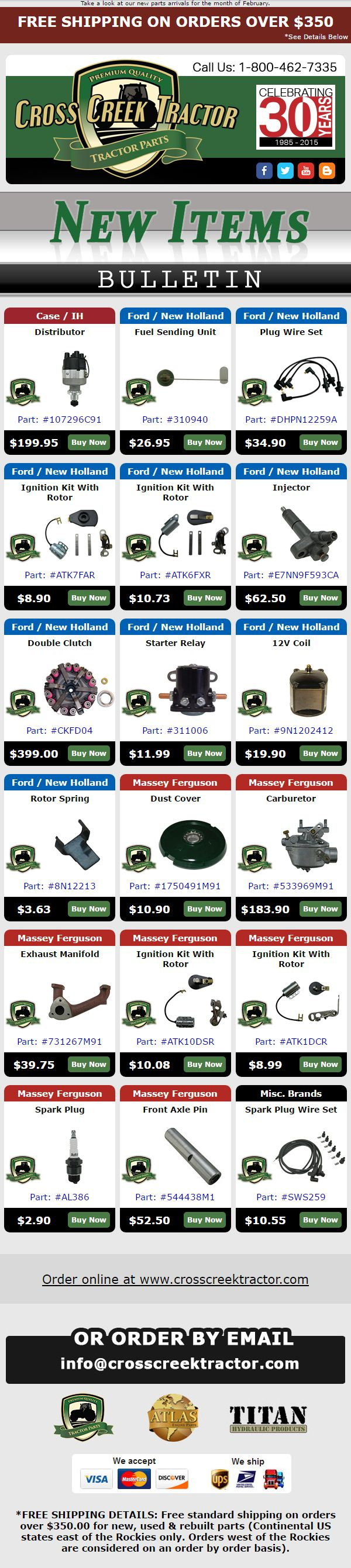 New Tractor Parts Email