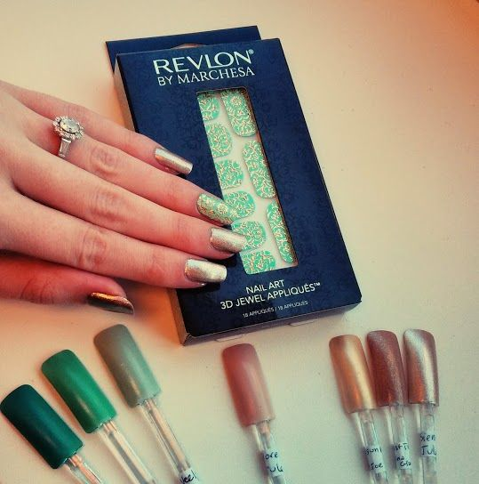 24K Brocade Nail Appliqués by Marchesa for Revlon with Julep Sienna