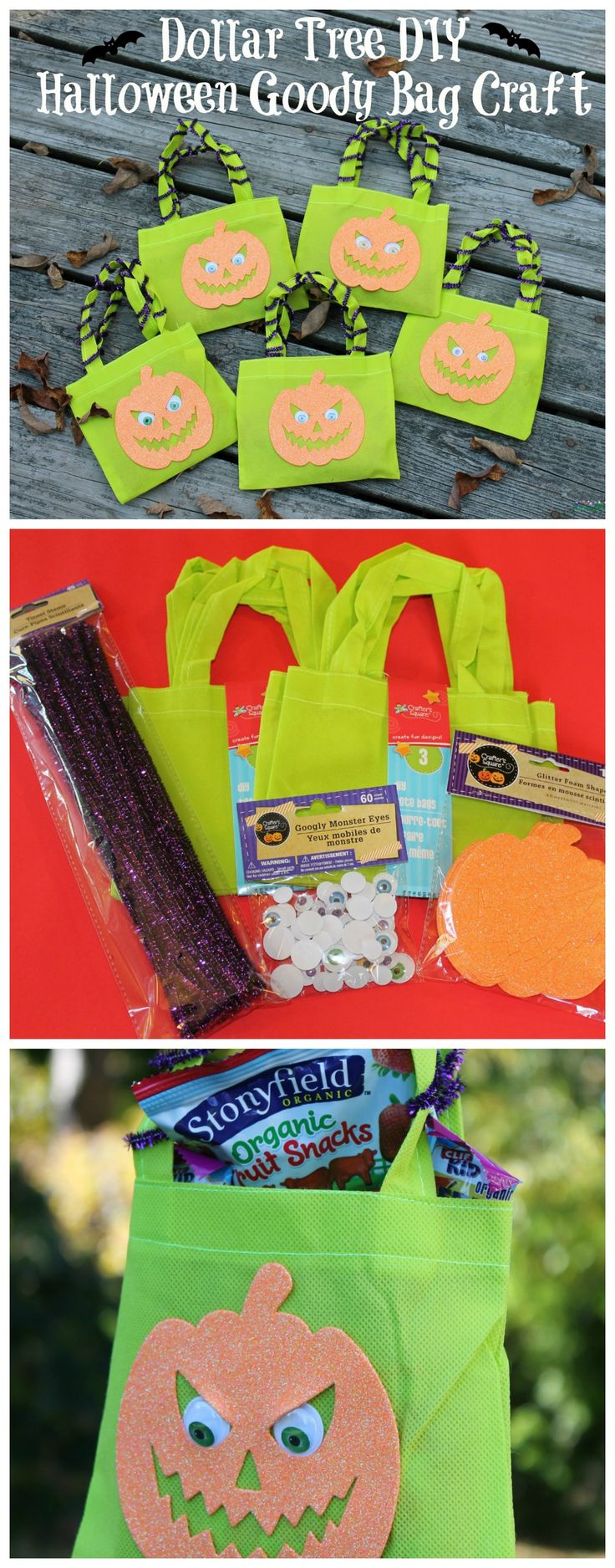 Super easy Halloween DIY craft made from items from the Dollar Tree. Fill with candy or novelty toys.