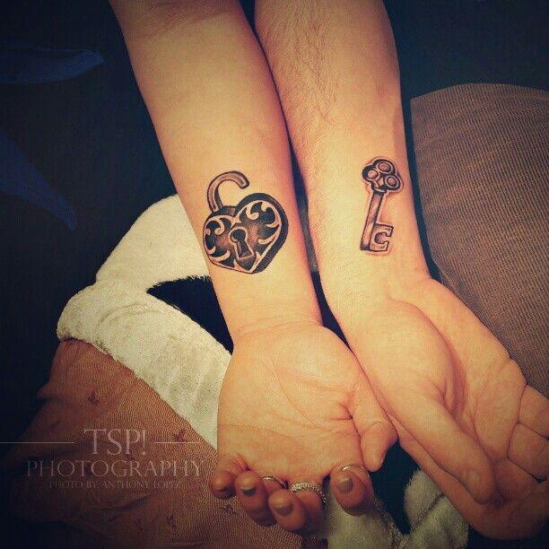 Heart lock and key couples tattoo
