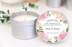 Personalised wedding favours / bomboniere. Soy candle tins. Pink Floral design by Mahina