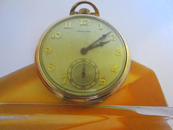 Hamilton Pocket Watch Wadsworth Case Gold Filled Scripted 17