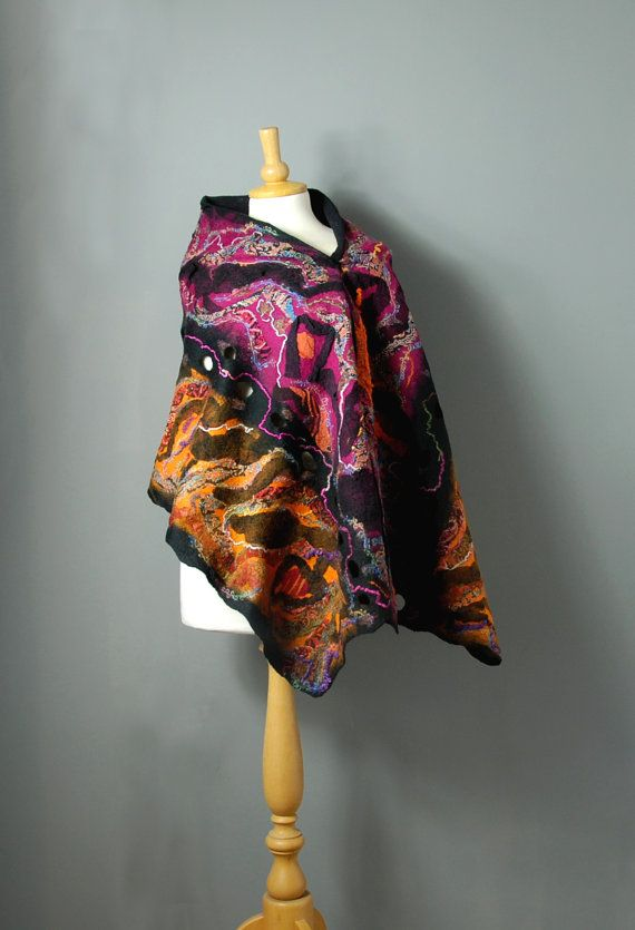 Nuno Felted scarf Felted scarf felt merino wool silk black pink orange fuchsia felted art  winter wool wrap scarf winter accessories