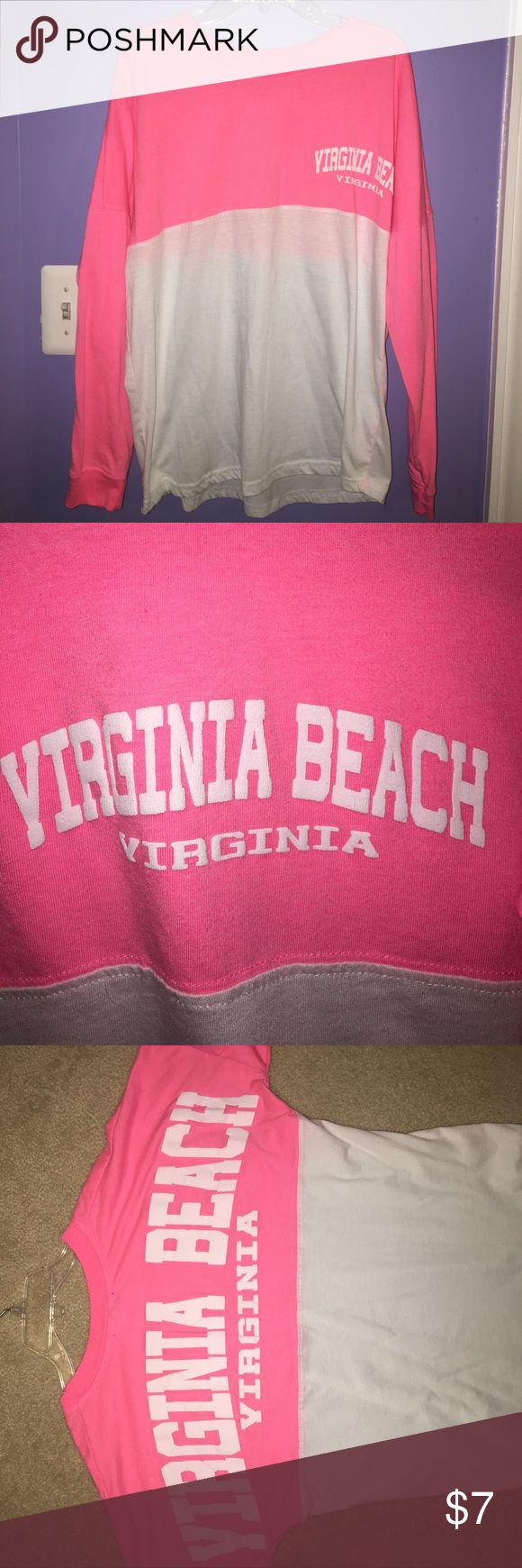 Virginia Beach Spirit Jersey Long-sleeve pink and white VA Beach spirit jersey. Only worn a few times, but does have hole on side (pictured) that could easily be stitched up!                                            📦SAME OR NEXT DAY SHIPPING📦.                                       ❌No trades, thank you!❌.                                                       💸10% off 2+ bundles!💸 Basix Of America Tops Tees - Long Sleeve