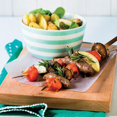 Taste Mag | Lamb and veg kebabs with warm potato and watercress salad @ http://taste.co.za/recipes/lamb-and-veg-kebabs-with-warm-potato-and-watercress-salad/